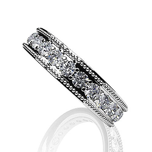 Or blanc 14K milgrain Edge Diamant éternité