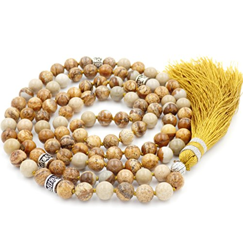 Gemstone Mala Beads Necklace, Mala Bracelet, Buddha necklace, Hand Knotted Mala (picture - Males Pictures
