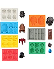Sunerly Silicone Ice Tray Molds in Star Wars Character Shapes, Ideal for Chocolate, Ice Cubes Trays, Jelly, Sweets, Desserts, Baking Soap and Candle Making (Set of 7)