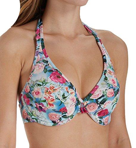 Panache Halter Bikini - Panache Alanis Halter Bikini Top, 38F, Blue Floral