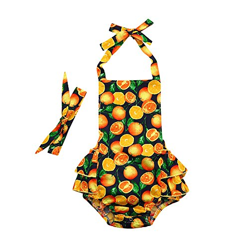 SMALLE Infant Baby Girls Romper Floral Printed Sleeveless Off Shoulder Ruffles Jumpsuit Outfits Summer Clothes (0-6 Months, Orange)]()