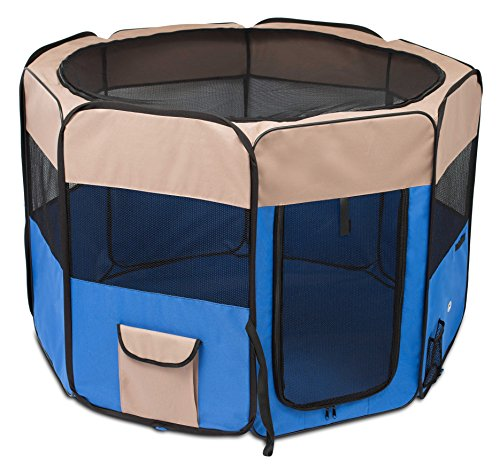 Internet's Best Soft Sided Pet Playpen | Large | Portable Puppy Pet Enclosure | Dog or Cat | Indoor Outdoor Mesh Kennel | Easy Travel | Folding and Collapsible Cage | Blue and Tan ()