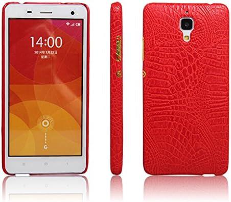 zl one Funda Xiaomi Mi4 PU Cuero Patrón Cocodrilo Bumper Back Case Cover (Rojo)