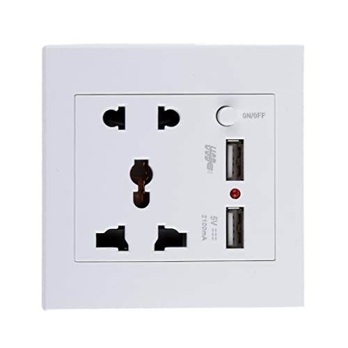 Generic White 2.1A 2 USB Wall Socket Charger Power Panel Receptacle 5 Outlet Switch