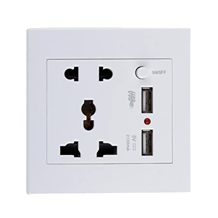 PC 2.1 A 2 USB Wall Socket Charger Power Panel Receptacle 5 Outlet Switch  (White) : Amazon.in: Home Improvement