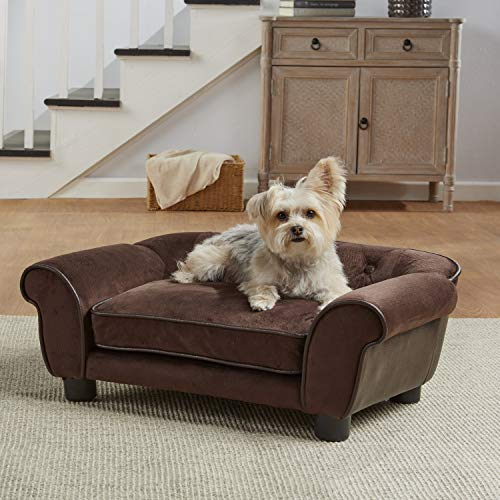 Enchanted Home Pet Ultra Plush Cleo Pet Sofa in Brown