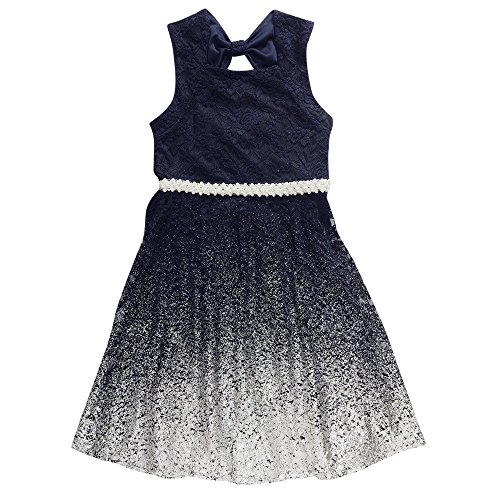 Emily West Girls' Big Lace Ombre Dress, Navy/Silver, 7 -