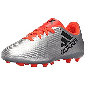adidas Performance Kids' X 16.4 Firm Ground Soccer Shoe (Little Kid/Big Kid), Silver Metallic/Black/Indoorfrared, 5 M US Big Kid
