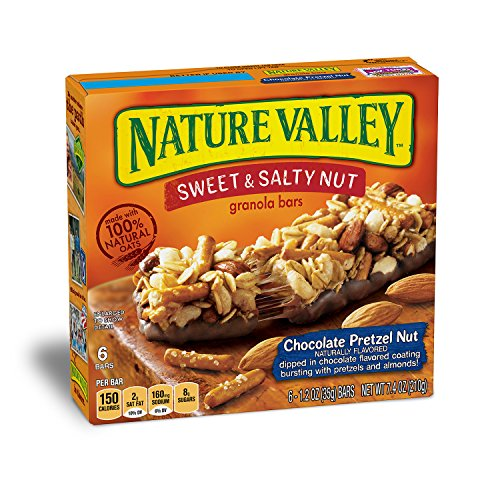 Nature Valley Granola Bars, Sweet and Salty Nut, Chocolate Pretzel Nut, 6 Count, Pack of 12
