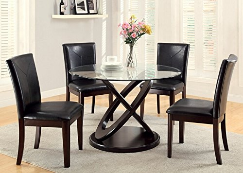 (5 pc Atenna I contemporary style dark walnut finish wood and glass top dining table set with parson)