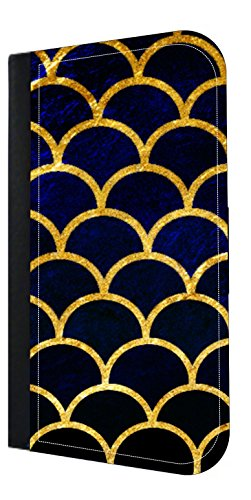Gilded Grunge Scallops - Blue Tones Wallet Phone Case for The iPhone Xs Max - 10 XS Max iPhone Wallet Case - iPhone Xs Max Wallet Case
