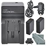 worldwide AC/DC Travel Charger 110-220v for Canon LP-E10 and Accessory Bundle w/2x LP-E10 Replacement Battery + Fibertique Cleaning Cloth