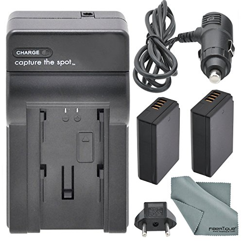 Worldwide AC/DC Travel Charger 110-220v for Canon LP-E10 and Accessory Bundle w/ 2X LP-E10 Replacement Battery + Fibertique Cleaning Cloth