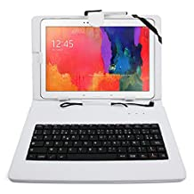 DURAGADGET FRENCH AZERTY White Faux-Leather Case / Cover With Micro USB Keyboard For Samsung Galaxy Note 10.1 2014 Edition / Galaxy Tab Pro 10.1 - Includes BONUS Cleaning Cloth + Stylus Pen!