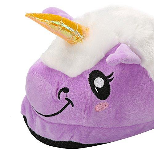Blu Unicorno morbido scarpe regali Halloween i Unicorno felpa bianca Cosplay Purple adulti per pantofole migliore Costume TT6rwq