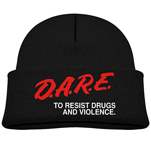 Dare to Keep Kids Off Drugs Beanie Cap Thick,Soft,Warm Slouchy Knit Hat for Boys & Girl Winter Soft Ski Cap Black