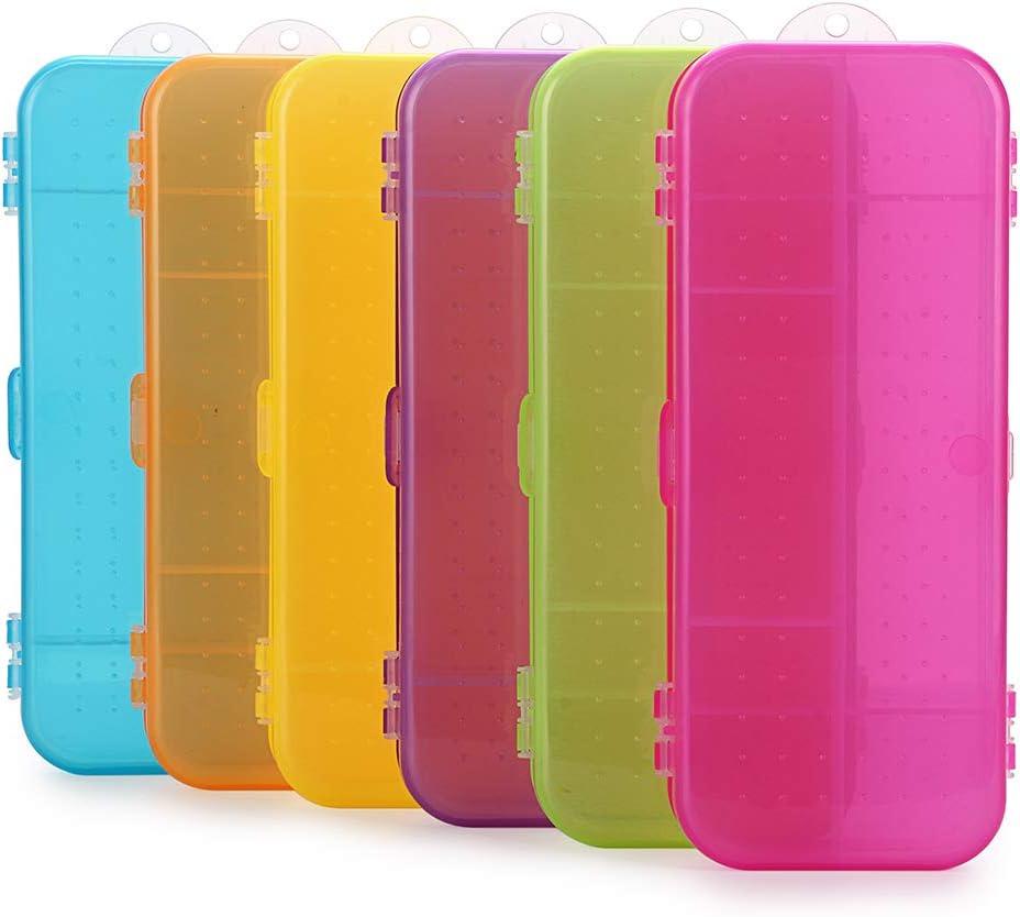 BSTKEY - Caja organizadora de plástico para lápices y pinceles (6 unidades), varios colores