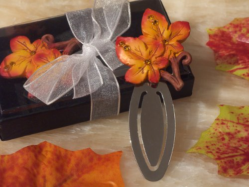 Splendid Autumn Themed Bookmark Favor with Vivid Turning Leaves