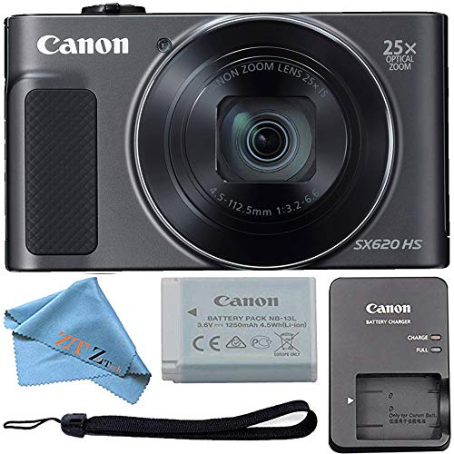Canon PowerShot SX620 Digital Camera w/25x Optical Zoom – Wi-Fi & NFC Enabled (Black) ZeeTech Bundle (Cloth Only)