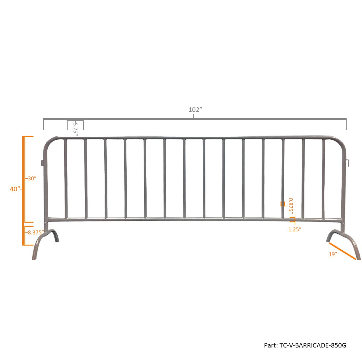 Electriduct 8.5 Feet Heavy Duty Steel Barrier Interlocking Crowd Control Barricade with Galvanized Finish (Pack of 10 Barricades) by Electriduct (Image #3)