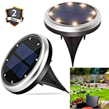 Solar Powered Lights, Outdoor Ground Lights, 16 Led Water-resistant Landscape Driveway Lights for Garden, Pathway, Yard, Walk Way, 2 Pack
