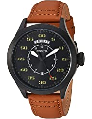 Invicta Mens Aviator Quartz Stainless Steel and Leather Casual Watch, Color:Brown (Model: 22974)
