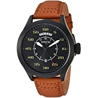 Invicta Men's 'Aviator' Quartz Stainless Steel and Leather Casual Watch, Color:Brown (Model: 22974)