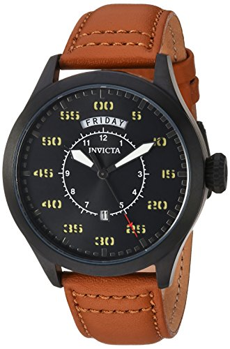 Invicta Men's Aviator Stainless Steel Quartz Watch with Leather Calfskin Strap, Brown, 22 (Model: 22974) (Watches Invicta Military)