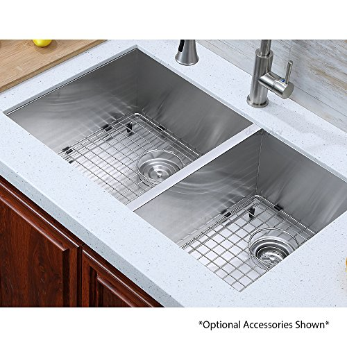 Decor Star H-003-Z 33 Inch x 20 Inch Undermount Offset Double Bowl 16 Gauge Stainless Steel Luxury Handmade Kitchen Sink Zero Radius by Decor Star (Image #5)