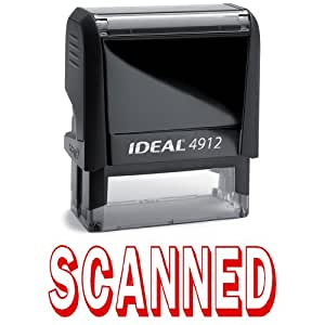 1 X SCANNED II Red Office Stock Self-Inking Rubber Stamp