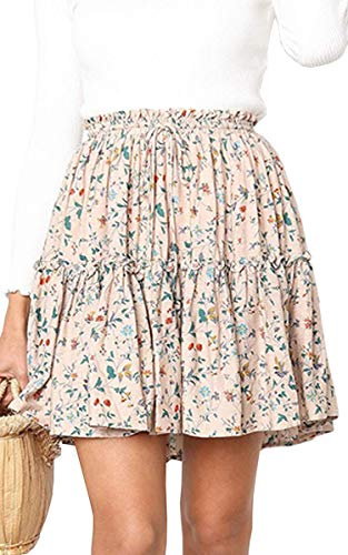 - Hibluco Women' Floral Layered Ruffles Tie up High Waist Short Pleated Skirt Apricot