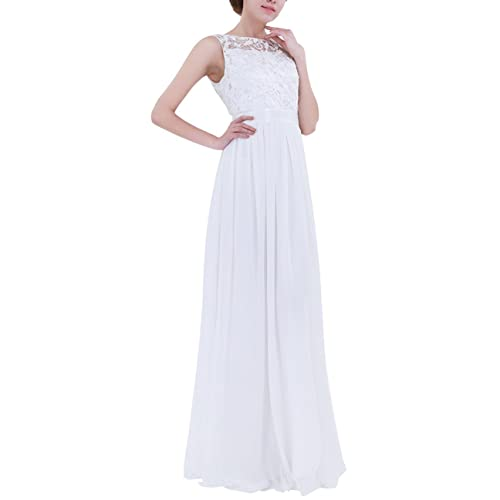 TiaoBug Women Ladies Empire Waist Embroidered Chiffon Wedding Bridesmaid Dress Long Evening Prom Gown