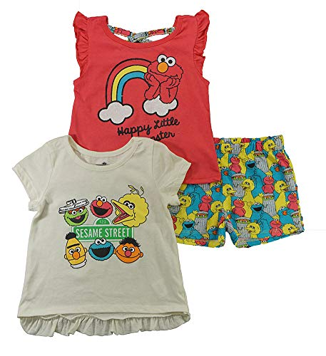 Sesame Street Girls 3PC Shirts and Short Set: Elmo & Cookie Monster