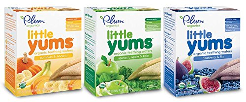 Plum Organics Little Yums Bundle: 1 Box of Pumpkin & Banana and 1 Box of Spinach, Apple, and Kale, &