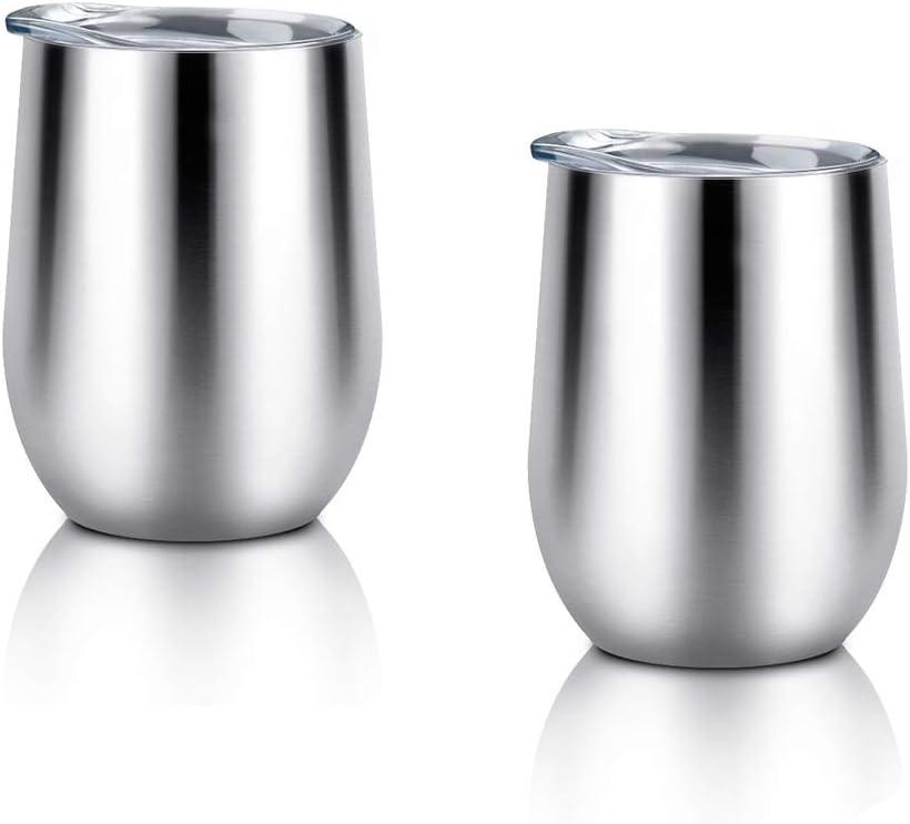 Vaso de vino con tapa aislada 2PCS,vaso de vidrio de vino de acero inoxidable de 12oz Vacío de doble pared tazas de bebida irrompibles aisladas Copa de vaso de viaje para café Cerveza de vino Copa