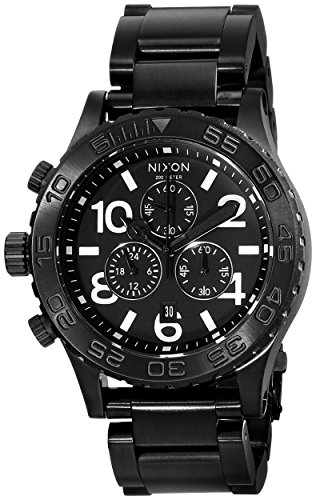 Nixon 42-20 Chrono Black Dial Steel Mens Watch A037001
