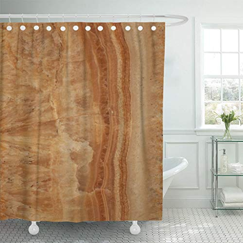 Emvency Fabric Shower Curtain with Hooks Brown Abstract Stone Marble Colorful Agate Architecture Banded Bands Bathroom Blotches 72