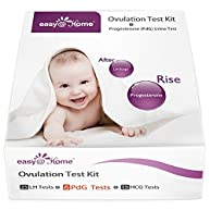 Easy@Home New FDA Registered 6 Progesterone (PdG) Test, 25 Ovulation (LH) Test and 15 Pregnancy (hCG) Combo Urine Test Strips Kit, More Reliable Fertility and Ovulation Tracking Home Test Kit