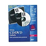 Laser CD/DVD Labels, Matte White, 250/Pack, Sold as 250 Each