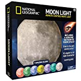 NATIONAL GEOGRAPHIC Moon Night Light for Children with AC adapter and Sleep Timer - Realistic 3D Moon Face Glows with 7 Awesome Color Settings! Comes with a 1-year Manufacturer's Warranty