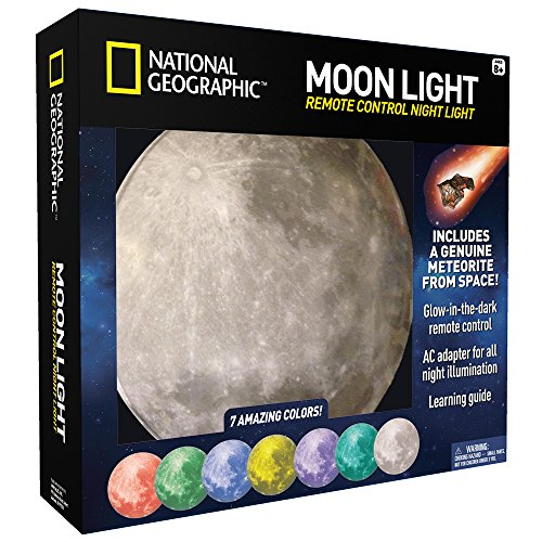 - NATIONAL GEOGRAPHIC Moon Night Light for Children with AC adapter and Sleep Timer - Realistic 3D Moon Face Glows with 7 Awesome Color Settings! Comes with a 1-year Manufacturer's Warranty