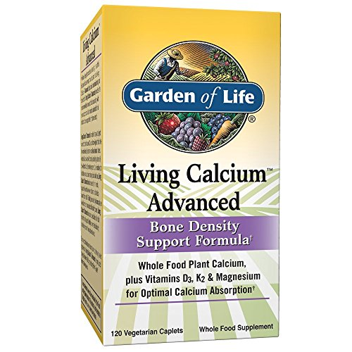 (Garden of Life Bone Strength Calcium Supplement - Living Calcium Advanced Bone Health and Density Support, Vegetarian, 120 Caplets)