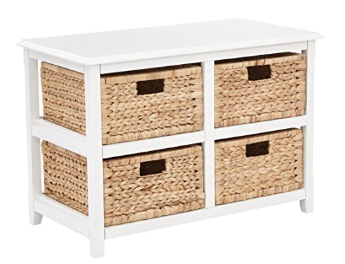 2 Drawer Bench - Office Star Seabrook 2-Tier, 4-Drawer Storage Unit with Natural Baskets, White Finish