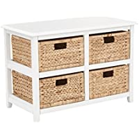 OSP Designs Seabrook Two-Tier Storage Unit with Finish and Natural Baskets, White