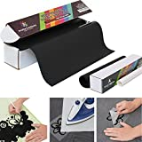 Iron On PU Vinyl Heat Transfer Roll 10'' x 10', Black, with Free Teflon Sheet 12''x10'', Compatible with Silhouette Cameo Cricut, Suitable for Professionals