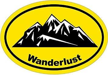 Perfect Outdoor Gift Hiking Bumper Sticker WickedGoodz Oval Orange Wanderlust Mountain Vinyl Decal