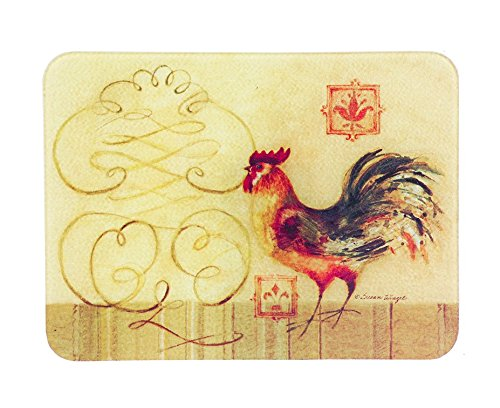 Glass Cutting Board Carving Board Chopping Board Counter Top Saver Country Decor Red Rooster