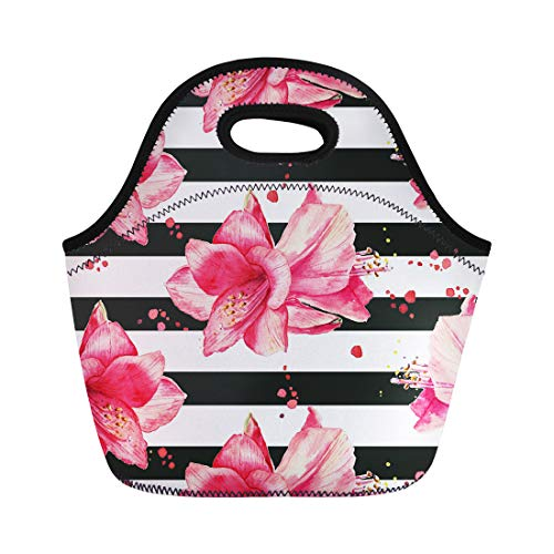 Semtomn Lunch Tote Bag Purple Stripe Watercolor Pattern Red Amaryllis Flowers Striped Black Reusable Neoprene Insulated Thermal Outdoor Picnic Lunchbox for Men Women