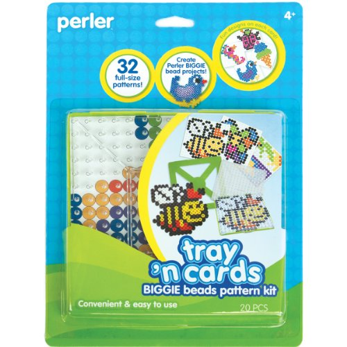 Perler Beads Pattern Cards and Perler Pegboards for Biggie Beads, Fuse Bead Activity Kit for Kids Crafts, 20 pcs -