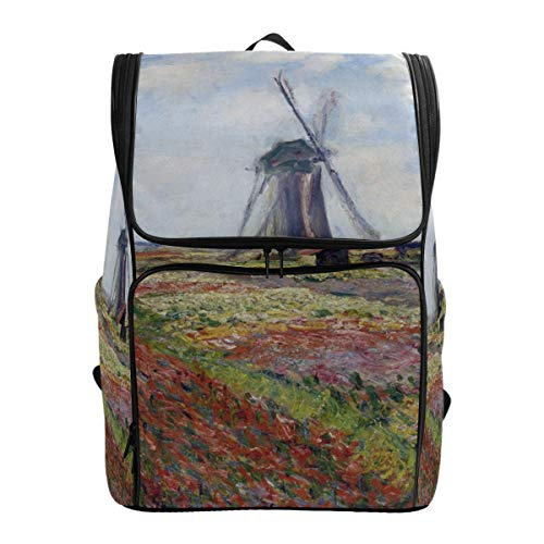 (Canvas Backpack Fields of Tulip with Rijnsburg Windmill Monet Art Large Capacity School Daypack Bookbag Laptop Backpack)